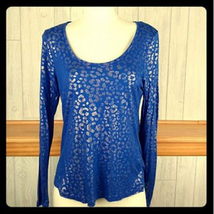 J LO Shimmery Gold & Blue Scoop Neck Cheetah Top